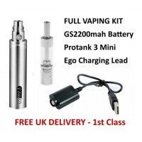 Vaping Starter Kit with GS 2200mAh Battery, Protank 3 Mini and eGo Charging Lead