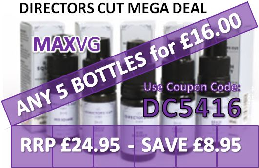 Get Five 10ml Bottles of our Premium Directors Cut UK E liquid for just £16